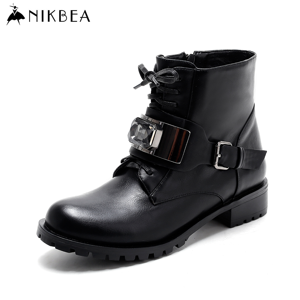 Nikbea Brand Fashion Black Ankle Boots for Women Short Lace Up Boots Buckle 2016 Women Winter Boots Autumn Ladies Shoes Flat women ankle boots 2016 round toe autumn shoes booties lace up black and white ladies short 2017 flat fashion female new chinese