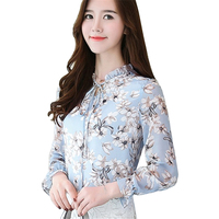 2017 New Fashion Autumn Loose Casual Women Chiffon Blouses Shirt Long Butterfly Sleeve Ladies Tops Floral Print Blusas Clothing