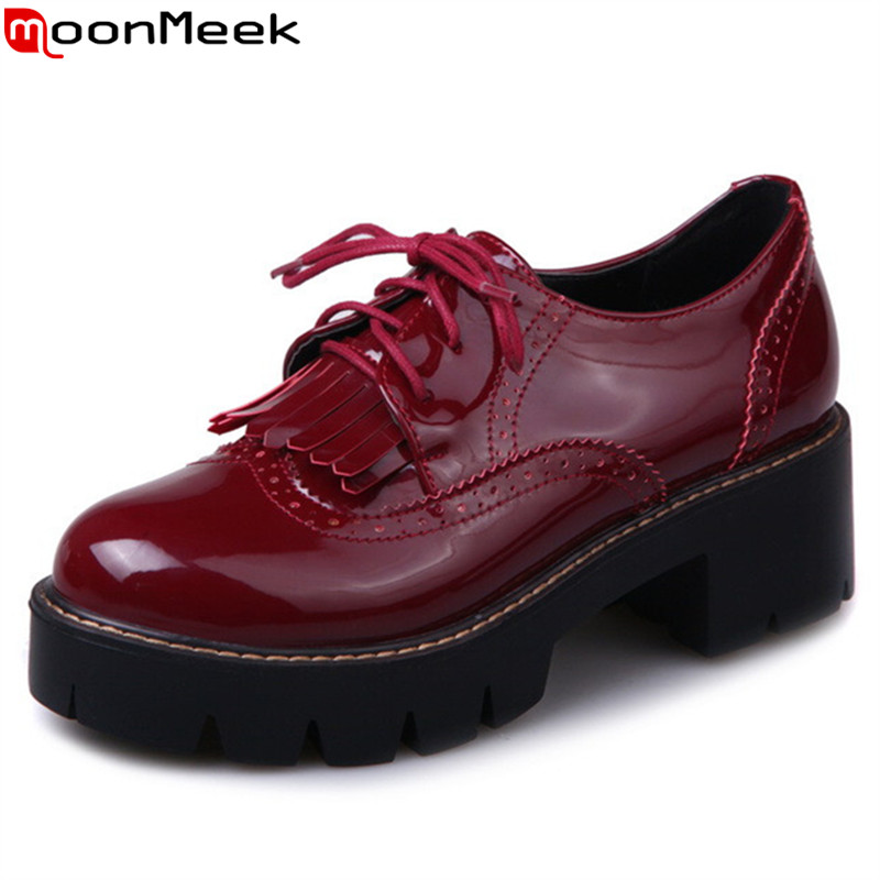 MoonMeek 2019 new arrive women pumps fashion lace up pu leather punk spring autumn shoes classic street style med heels shoes