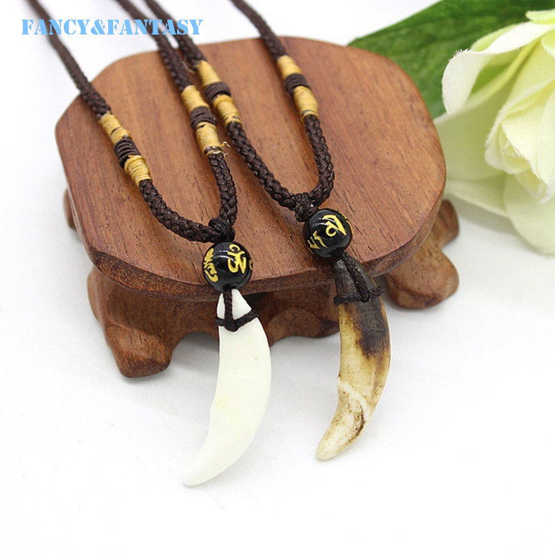 WOW Horde Amulet Necklace Tooth Fangs Canine Wolf Tooth Pendant Surfer Necklace Collar Adjustable Gift N-055