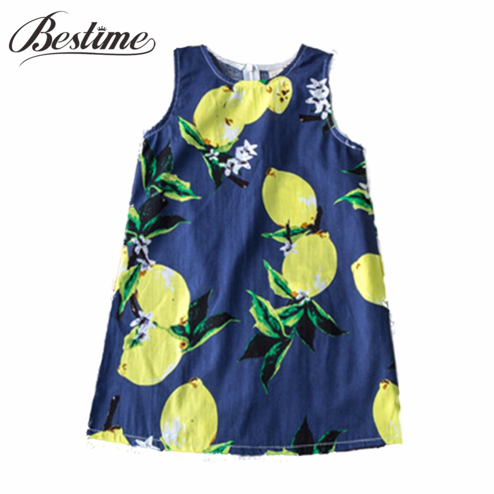Summer Kids Dresses for Girls Pineapple Lemon Girl Dresses Cotton Sleeveless Children Sundress Sarafan Clothes for Girls 2-7y цена 2017