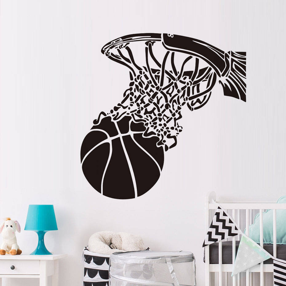 Basketball Shoot In Basketball Hoop Wall Stickers Sports Fans Home Decor Vinyl Removable Wallpapers Diy Wall Decals Boys Room