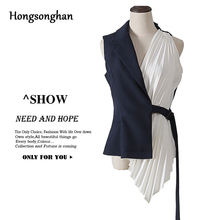 Hongsonghan Summer OL open stitch Clothing Patchwork Waistcoat For Women V Neck Sleeveless Lace Up Ruched Asymmetrical Vest tide