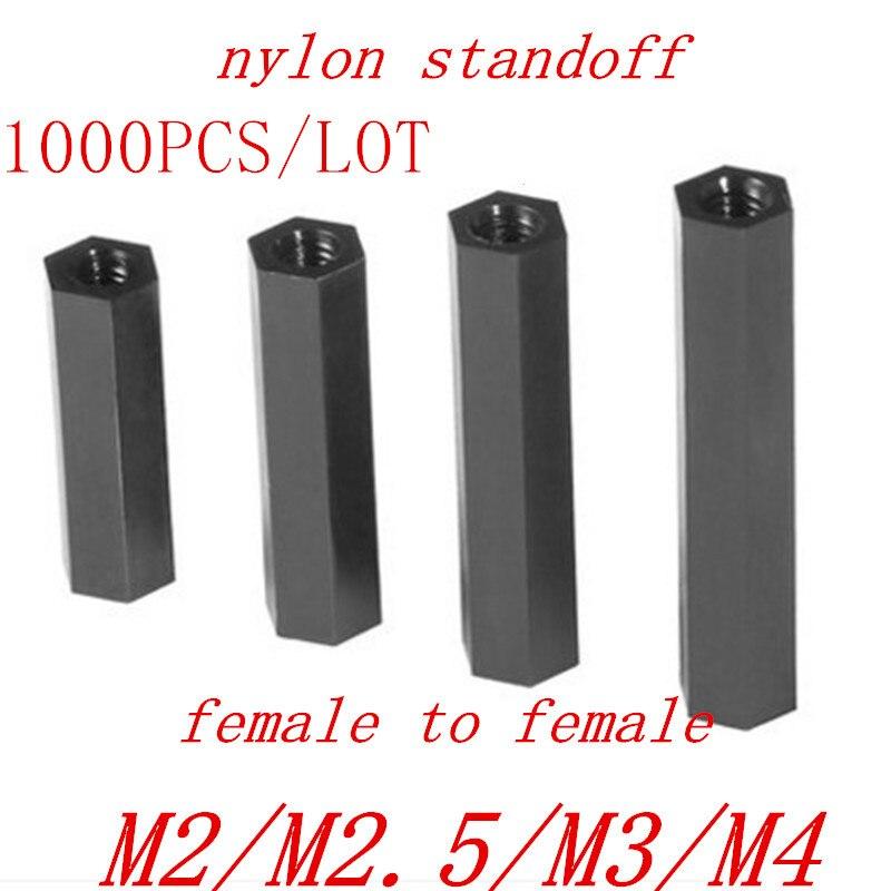 1000PCS black Nylon PCB spacer standoff M2 M2.5 m3 M4 Female to Female Black Nylon Standoff spacer