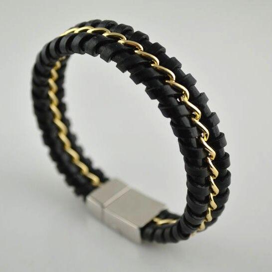 044b4a68da81 5 unids nuevo diseño Cuero auténtico giro con cadena de acero inoxidable  pulseras y brazalete para hombres joyería al por mayor