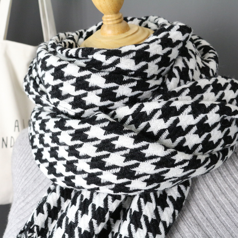 Image 2 - women winter thick fashion soft warm lady cashmere white and black long houndstooth scarf with tassel-in Women's Scarves from Apparel Accessories