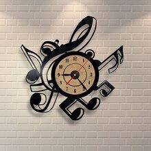 2019 novedad creativa nueva sala de estar Vintage Retro vinilo Reloj de pared temas musicales reloj con diseño de disco de CD gran 3D reloj de decoración del hogar