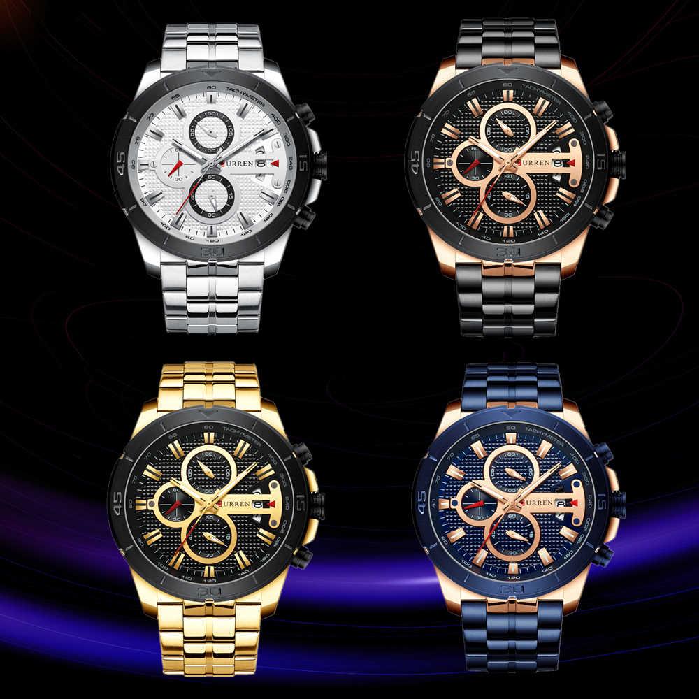 CURREN יוקרה מותג נירוסטה ספורט שעון גברים החדש הכרונוגרף שעוני יד אופנה מקרית תאריך קוורץ שעון Mens שעונים