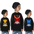 2Y-10Y Pokemon Go Child Sweatshirts Girls Cotton Top Kids Pullover Boys Long Sleeve Tee Shirts