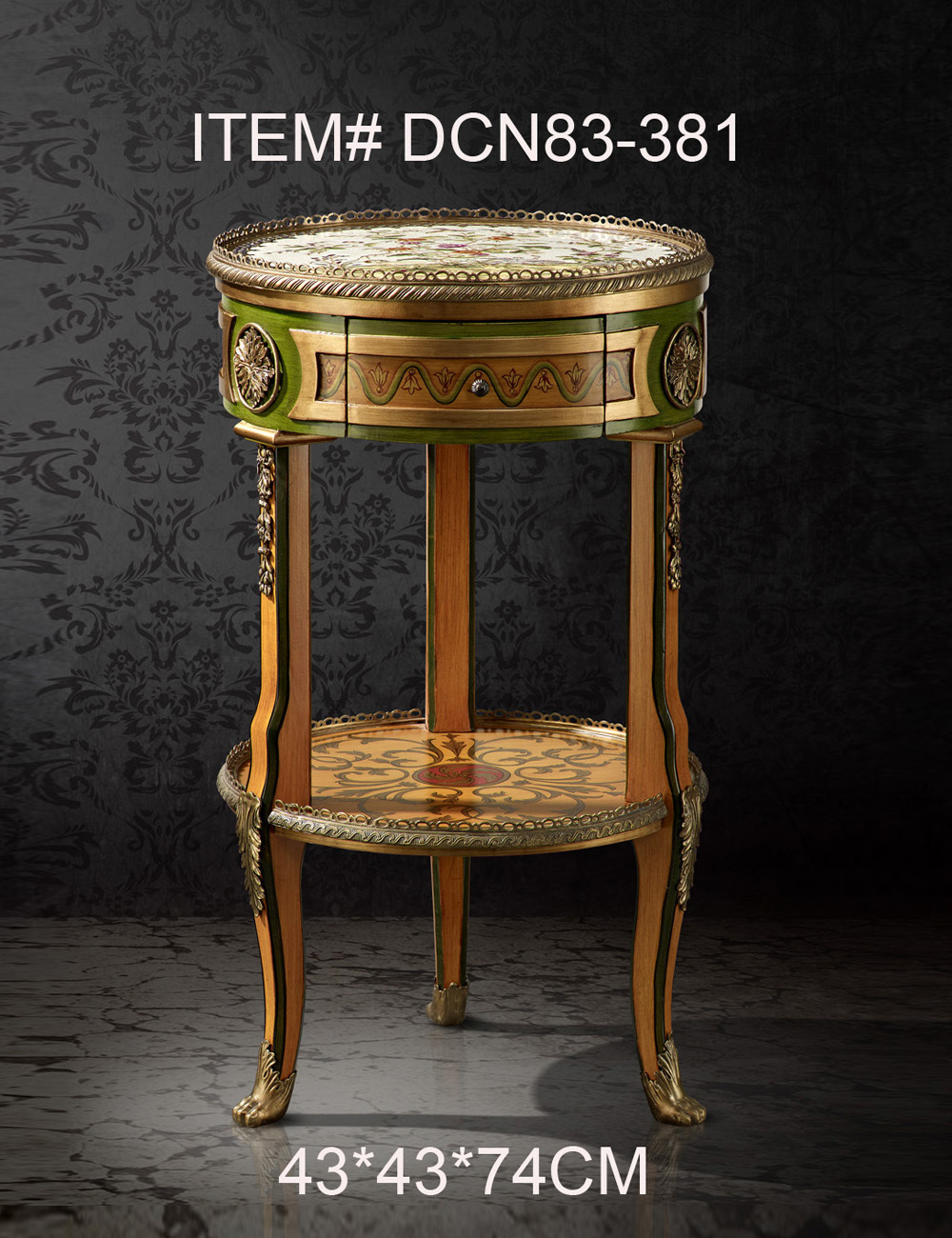New Classical Round Decorative Bed Side Table End Table Three Legs Living Room Bedroom Furniture