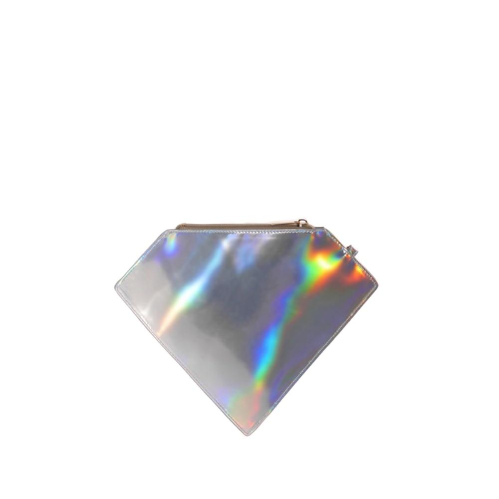 LASER METALLIC DIAMOND CLUTCH BAG - Womens 2018 Fashion Stylish Cool Novelty Mirror Shiny Bling Evening Day Clutch Wristlet Bag
