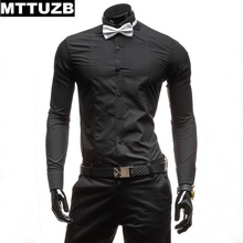 MTTUZB 5053 men fashion slim formal dress shirt with tie man casual long sleeve business shirts male work shir white and black