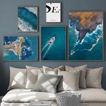 אי ים חוף סירת ציטוטים נוף קיר אמנות בד ציור נורדי והדפסי קיר תמונות לסלון דקור