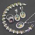 Creado Topacio místico Del Arco Iris Blanco 925 Plata de La Joyería Para Las Mujeres Pendientes/Colgante/Collar/Anillos/pulseras Caja Libre