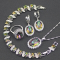 Mystic Rainbow White Created Topaz 925 Sterling Silver Jewelry Sets For Women Earrings/Pendant/Necklace/Rings/Bracelets Free Box