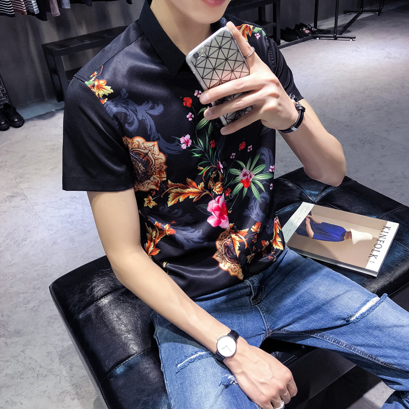 898948bf925 Flowers Shirts Mens Floral Dress Fancy Printed Summer Shirts Mens Fashion  2018 Camisa Social Masculina Slim Fit Club Outfits-in Casual Shirts from  Men s ...