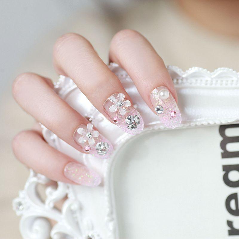 24 PCS Nail Art Tips Romantic New Girls/Bride Pre Designed French ...