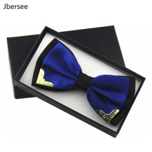 Jbersee роскошный бутик Модные металлические галстуки-бабочки для мужчин и женщин Свадебная вечеринка бабочка галстук-бабочка Gravata тонкий черный галстук-платок
