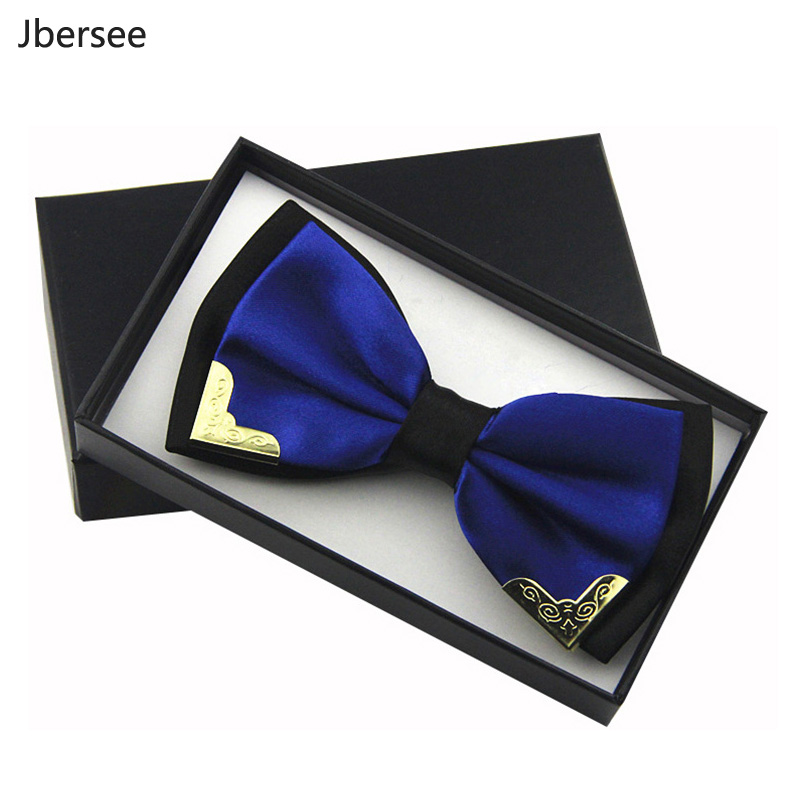 Jbersee Luxury Boutique Fashion Metal Bow Ties For Men Women Wedding Party Butterfly Bowtie Gravata Slim Black Bow Tie Cravat