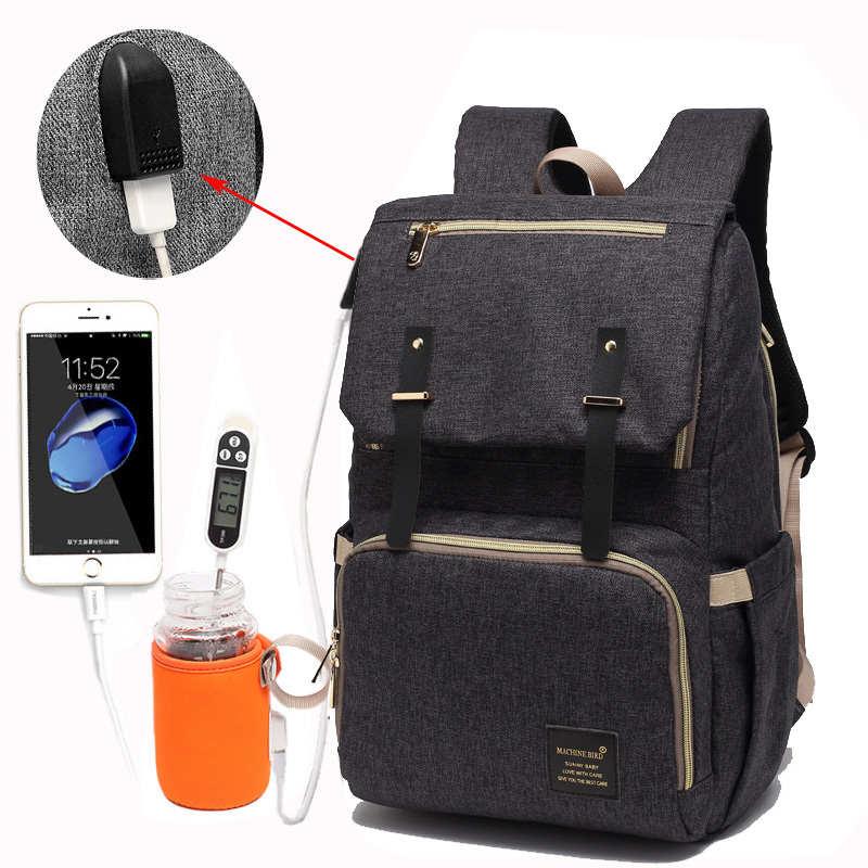 Сумка для подгузников USB Детская сумка для подгузников мумия рюкзак папы большой емкости Водонепроницаемый Повседневная сумка для ноутбук...
