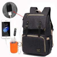 Sac à couches USB bébé Nappy sac momie papa sac à dos grande capacité étanche sac d'ordinateur portable décontracté Rechargeable titulaire pour bouteille