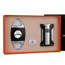CIGARLOONG Cigar Lighters 2pcs Set With knife Krupp Stainless Steel Gift Boxed
