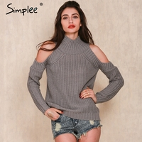 Simplee Apparel Turtleneck Off Shoulder Knitted Warm Sweater Women Autumn Winter Fashion Tricot Short Pullover Jumper