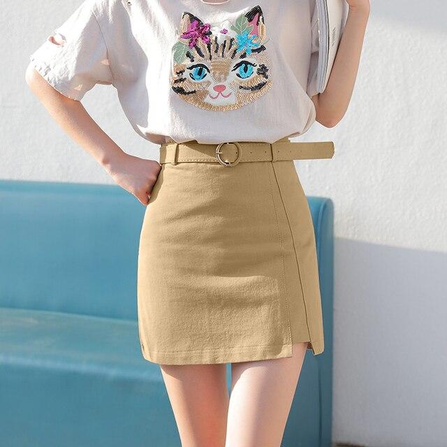 MingJieBiHuo A word package hip skirt spring and summer new Korean fashion ladies was thin irregular slit women girls skirt