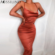 AOSSILIND Sexy Spaghetti Straps Midi Dress Women Backless Lace Up Long Bodycon 2019 Summer Slim Casual Party Club Dresses