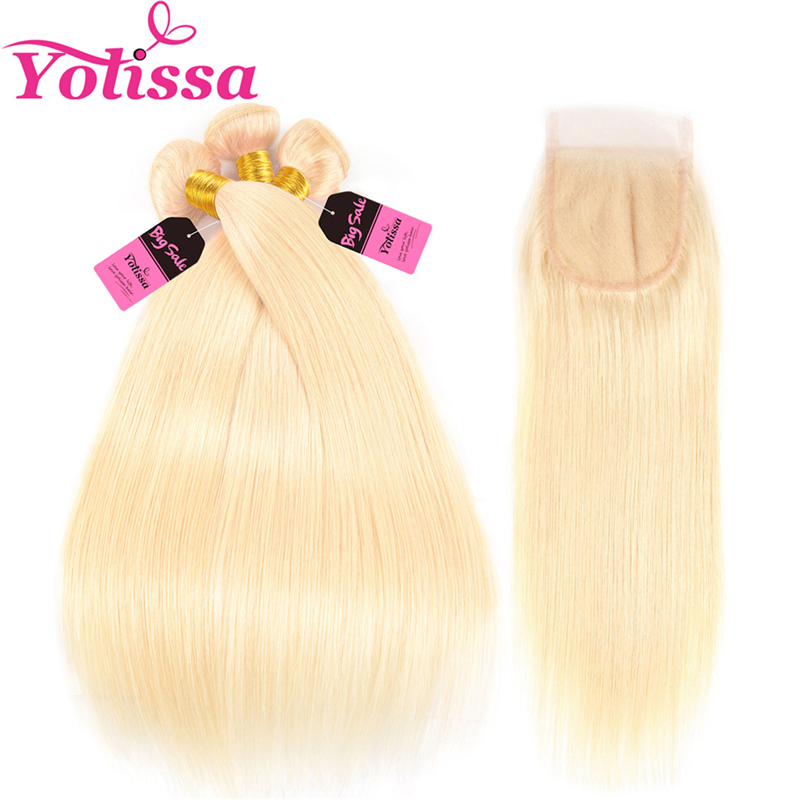 Yolissa Hair 613 Blonde Bundles With Closure 4Pcs/Lot Brazilian Straight Human Hair Blonde Bundles 100% Remy Hair 10-24 Inch image