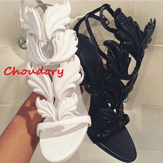 Choudory Design Cruel Summer Leaves Angle Wings Woman Buckle Strap Gladiator High Heels Sandals Women Gold Silver Yellow White crown princess 1 year girl birthday dress headband infant lace tutu set toddler party outfits vestido cotton baby girl clothes