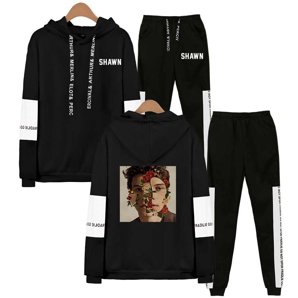 Singer Shawn Mendes Hoodies Sweatshirt Sweatpants Suits Men Women Popular Shawn Mendes Hip Hop Pullover Two Pieces Set Tracksuit