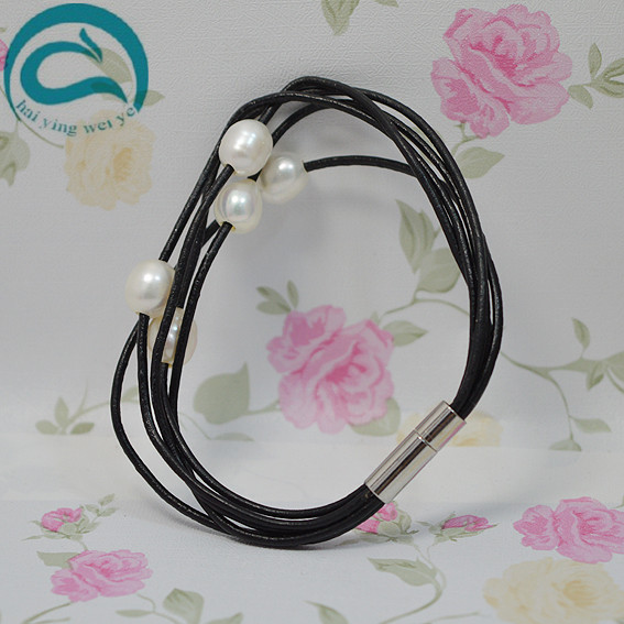 Unique 100 Natural Freshwater Pearl Bracelet Black Leather White Freshwater Pearl Jewellery Real Pearl Gift For Girl Friend in Bracelets Bangles from Jewelry Accessories