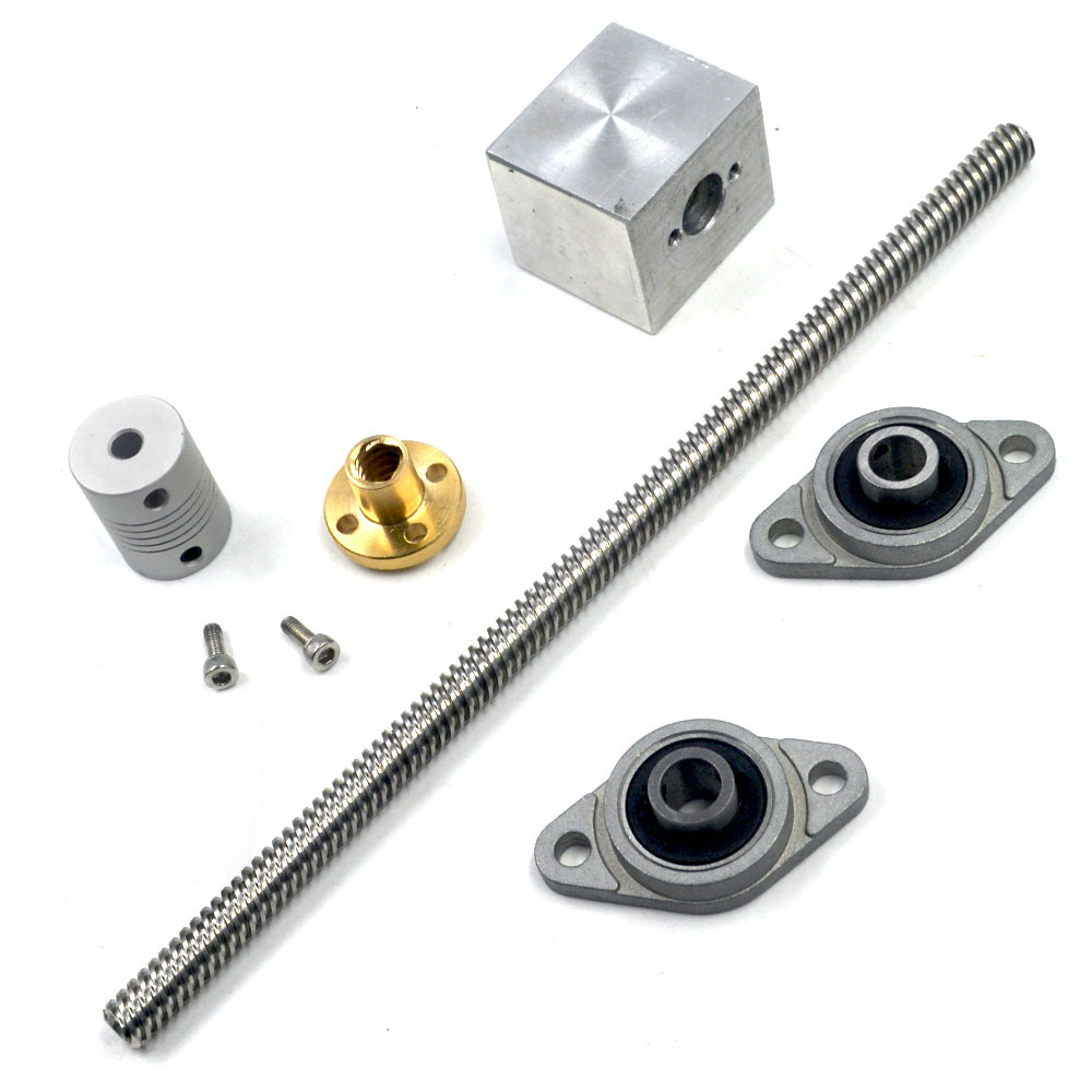 цены 150mm Length 8mm Dia Silver Vertical 2mm Lead Screw Rod & Pillow Block Mounted Bearing T8 Lead Screw Kit for 3D Printer Set of 6