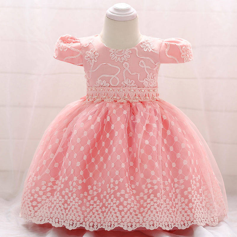 Retail Elegant Court style Little Baby First Communion Baptism Dress Pink Puffy Sleeves Baby Girls Party Prom Gown Dress L1855XZ