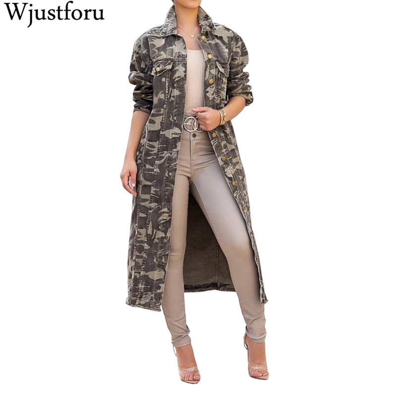 Wjustforu Fashion Camouflage   Trench   Women Long Sleeve Bodycon Printed Long Tops Female Casual Elegant Coat   Trench   Vestido Slim