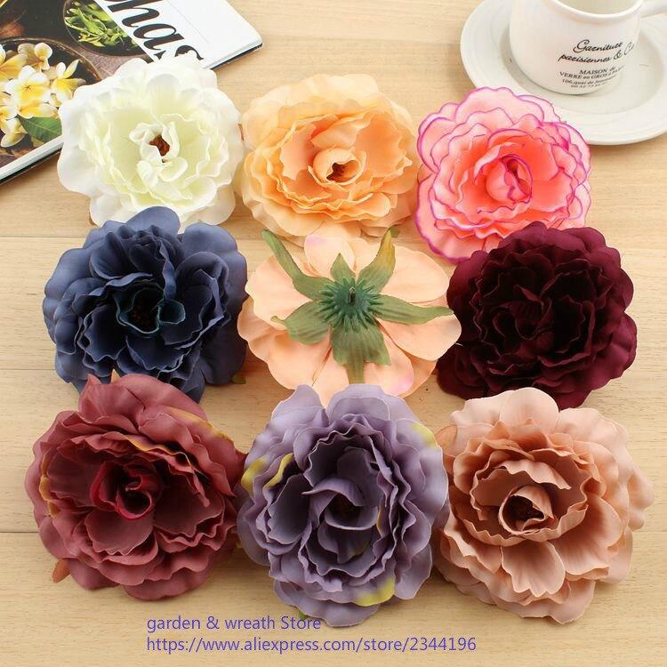 10cm artificial flower silk rose heads to make hair clips hat flowers head wreath kissing ball