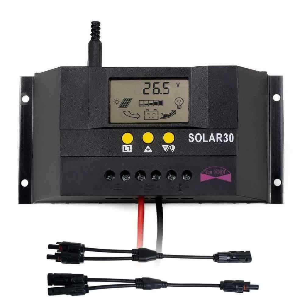 LCD 30A PWM Panel Solar regulador de batería controlador de cargador 12 V/24 V + 1 par Y tipo MC4 panel Solar hombre Cable hembra