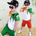 Дети мальчик одежда для лета 2017 детская одежда установить 5 8 10 12 лет для мальчиков зеленый с коротким рукавом футболки топы брюки набор мальчиков