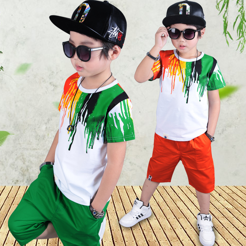 Buy kids boy clothes for summer 2017 children clothing set 5 8 10 12 years for boys green short sleeve t-shirts tops pants boys set
