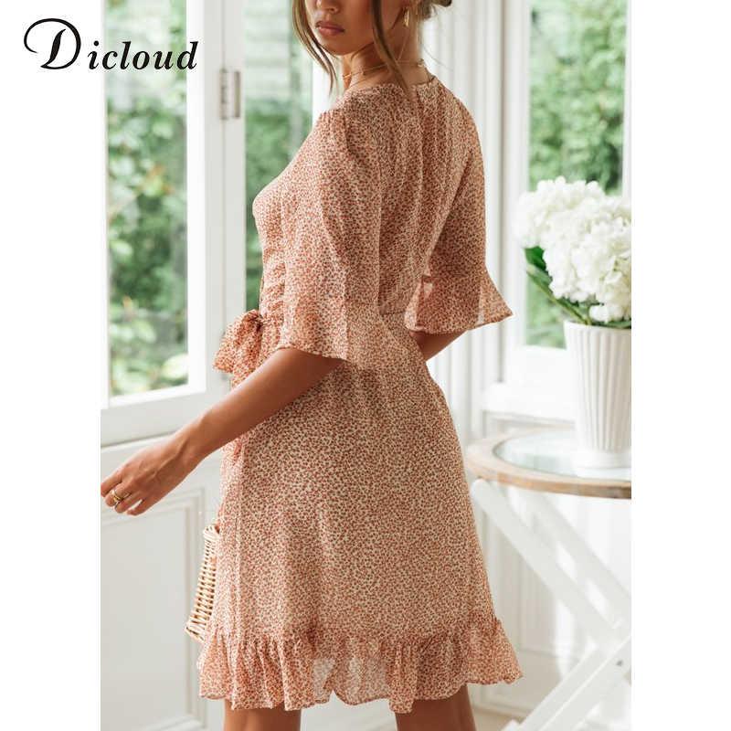DICLOUD Повседневное Цветочный принт летние платья Для женщин оборками V образным вырезом Обёрточная бумага платье короткий рукав Повседневный пляжный сарафан модные 2019