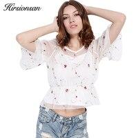 Hirsionsan 2 Pcs Flower Embroidery Blouse Shirt Women Tops Blouse Chemise Femme Camisa Transparent Crop Top