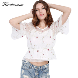Hirsionsan 2 pcs flower embroidery blouse shirt women tops blouse chemise femme camisa transparent crop top.jpg 250x250