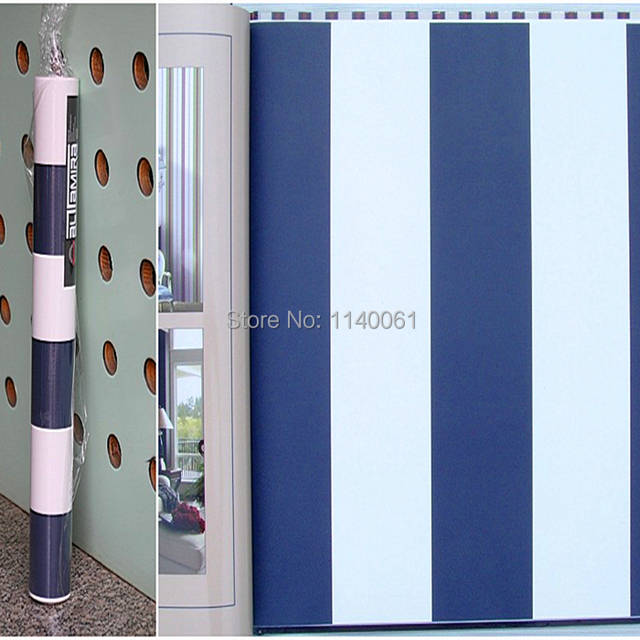 Mediterranean Style Blue And White Striped Wallpaper Navy Stripe American Country Wide