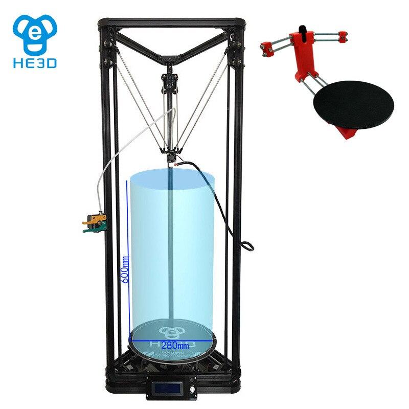 Combinaison vente, HE3D K280 delta 3D kit imprimante impresora _ gros taille 280mm * 600mm, ajoutant bricolage 3D scanner