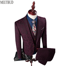 MEETBUD Brand men suit wedding business casual slim fit party groom host wine red color jacquard men suits dress 3 pieces