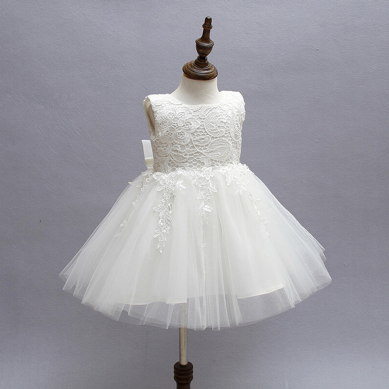 22b03e92e6f80 Fashion Formal Newborn Wedding Dress Baby Girl Bow Pattern For Toddler 1  Years Birthday Party Baptism Dress Clothes-in Dresses from Mother & Kids on  ...