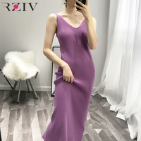 RZIV 2019 Spring female dress slim casual solid color knit dress sling harness sweater dress