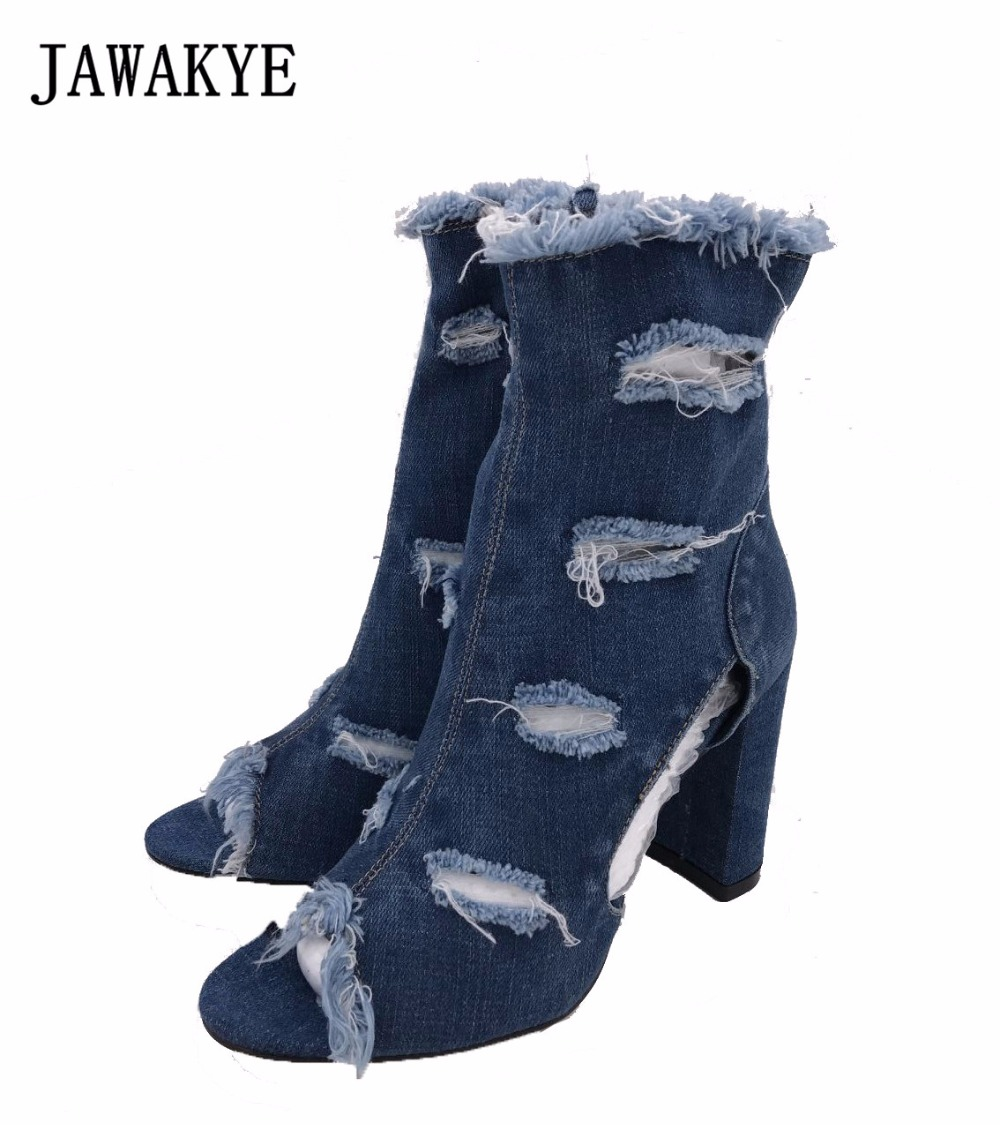 JAWAKYE blue denim jean ankle boots women chunky high heel peep toe cut outs women shoes tassel jeans boot modern women s high waist washed light blue true denim pants jean femme for women jeans simple style