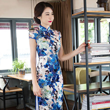 The Fashion Long Velvet Cheongsam Dress Plus Size Chinese Traditional Gown Modified Cheongsam Dress S-3XL